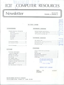 BCIT Computer Resources Newsletter, vol.4, no.2, 1985-12-02