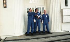 Aviation, students in uniforms holding books while standing outside a BCIT building [3 of 10 phot...