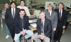 Student projects, presentations, Technology Centre Lab, 1995, posed group photograph, some people...