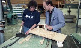 BCIT Women in Trades; carpentry, man and woman with saw
