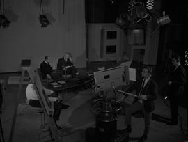 BCIT Broadcast and Television, 1966; behind the scenes view of people working on a television set...
