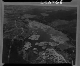 Logging, 1968; copy negative; picture of a lake where logs are being stored