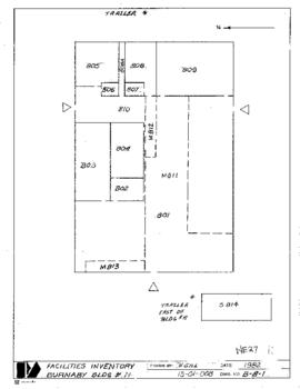 NE27, Facilities inventory Burnaby Bldg. no. 11, *trailer, floor plan, 1982 (trailer east of bldg...