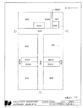 NE22, Facilities inventory Burnaby Bldg. no. 14, floor plan, 1982