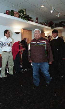 First Nations elder leading the line of First Nations graduates