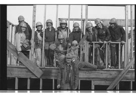 Group of female students in framed building with instructor, PVI Maple Ridge 1981; WEAT; Women
