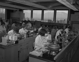 Medical Lab; students in lab coats working in a medical lab [2 of 2]