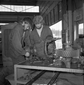 BCVS Heavy duty mechanic program ; two men disassembling a motor [1 of 2]