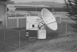 BCIT Burnaby campus; a satellite dish attached to a trailer (side view)