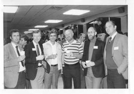 BCIT Alumni Association AGM 1988; 1967 graduates (L-R) Terry Sampson, Keith Harvey, Tony Leugner,...