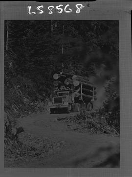 Logging, 1968; copy negative; picture of a truck carrying logs on a logging road