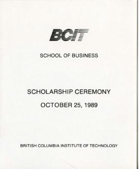 BCIT School of Business, Scholarship ceremony; October 25, 1989, program