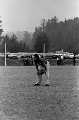 BCIT image of a fielder in a staff softball game. BCIT Recreation [1 of 2 photographs]