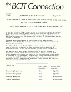 BCIT Connection: Budget update 1986-05-26