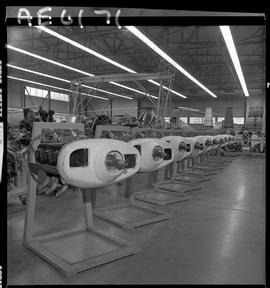 BC Vocational School; aircraft engines inside the hangar in Burnaby [1 of 2 photographs]
