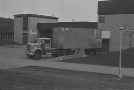 BCIT Burnaby campus; a CP Transport truck parked in front of the SAC/Gymnasium/Medical Services b...