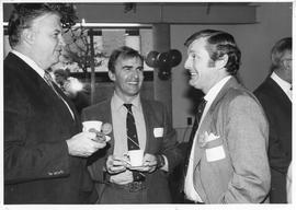 Merger of BCIT and PVI, fall of 1985, event photos; [L-R] Grant McConachie (BCIT Development Coun...