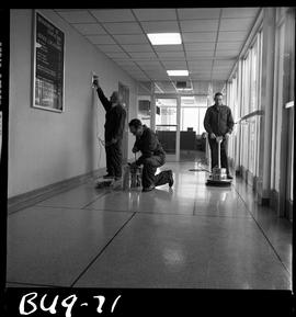 B.C. Vocational School image of Building Service Worker program students operating wall cleaning ...