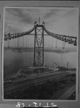 Structural steel; towers and suspension cables of A. Murray Mackay bridge connecting Halifax and ...