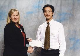 BCIT Alumni Association Entrance Awards, Nov. 7, 2001; Vincent Pan, presented by Julie Koel, Dire...