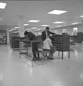 BCIT Library ; people using a card catalogue