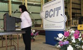 Graduation ceremony for the first class of BCIT women welders, woman giving speech to audience [4...