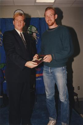 BCIT Alumni Entrance Award, October 19, 1994; Daniel Hurd, presented by Mr. Bill MacPherson, Vice...