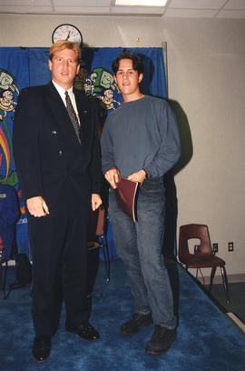 BCIT Alumni Entrance Award, October 19, 1994; Christopher Newcombe, presented by Mr. Bill MacPher...