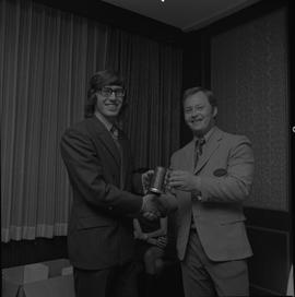 Hockey presentation, Plaza 500, 1972; player receiving the P.I.H.L. Champions award 1972-1972