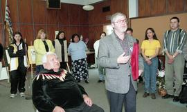 BCIT open house '98, staff member presenting a framed photo to a First Nations elder [1 of 5 phot...