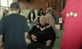 BCIT open house '98, First Nations elder sitting in a chair