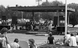 Band playing on stage at Guichon creek, spectators