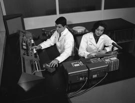 BCIT Broadcast and Television, 1964; man and woman in a radio booth