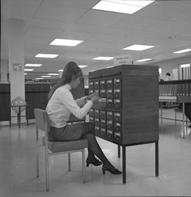 BCIT Library ; woman looking through card catalogue [2 of 2]