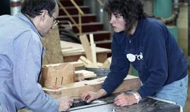 BCIT Women in Trades; carpentry, two people looking at a saw