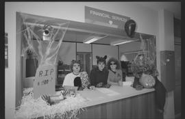Two cat costumes and one Star Trek costume, Financial Services staff during Halloween [5 of 5 pho...