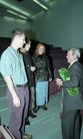Venture students meet Tony Parsons, April 1995 [11 of 12 photographs]