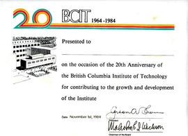Blank copy of BCIT Commemorative certificate  with original gold embossed folder