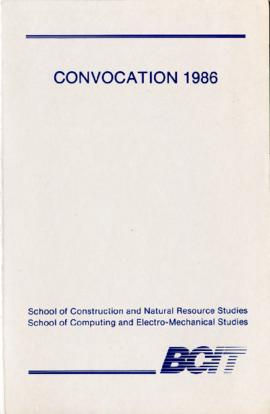 Convocation 1986; School of Construction and Natural Resource Studies [title cont'd in note]
