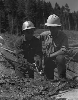 Logging, 1967; two men wearing hard hats standing next to a log ; one man holding a lifting cable...