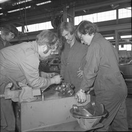 BCVS Heavy duty mechanic program ; an instructor showing students parts of a motor [2 of 3]