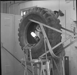 Logging, 1969; a man holding a light and looking inside a large tire