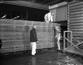 BCIT Programs Forest Products Technology ; three men building a wall out of wood