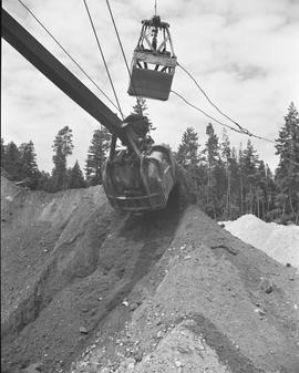 Heavy duty equipment operator, Nanaimo ; excavator scooping dirt ; forest in background