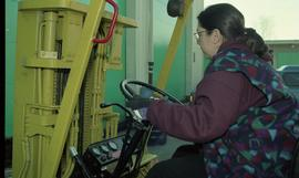 BCIT women in trades; forklift training, students driving a forklift [10 of 15 photographs]