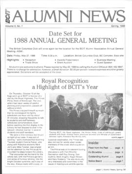 BCIT Alumni Association Newsletter 1988 Spring BCIT Alumni News
