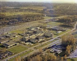 British Columbia Institute of Technology, aerial view of Burnaby campus and surrounding green spa...