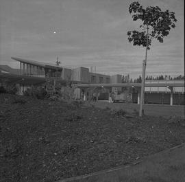 Terrace campus, BCVS, 1971; garden, people walking under covered walkway, buildings