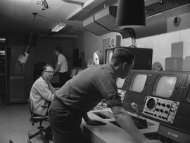 BCIT Broadcast and Television, 1964; three men working in a broadcast control room [2 of 2]