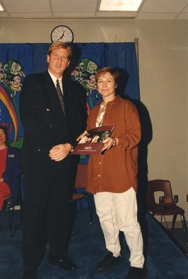 BCIT Alumni Entrance Award, October 19, 1994; Cheryl Ross, presented by Mr. Bill MacPherson, Vice...